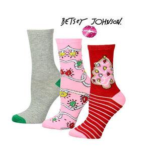 NWT Betsey Johnson Holiday Socks (3) Set
